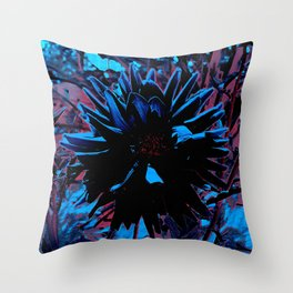 August Dahlia In Black Throw Pillow