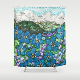 Mountains and Forget-Me-Nots Shower Curtain