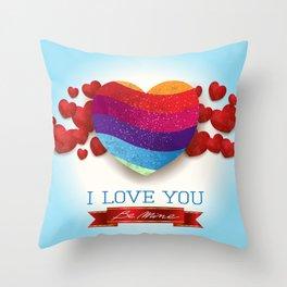 Love heart in blue Throw Pillow
