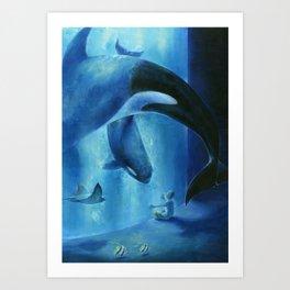 A midnight aquarium Art Print