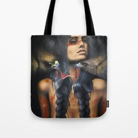 running Tote Bags featuring Running Eagle by Chelsea Brown