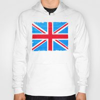 british flag Hoodies featuring Rough And Worn British Union Jack Flag by Mark E Tisdale