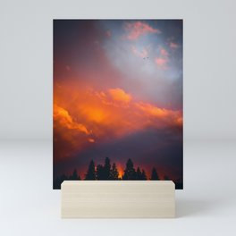 Bend Oregon: sunset & rainbow Mini Art Print