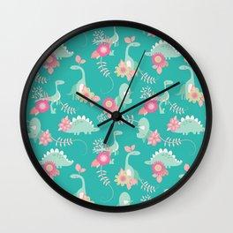 Floralsaur - Pink & Blue Wall Clock