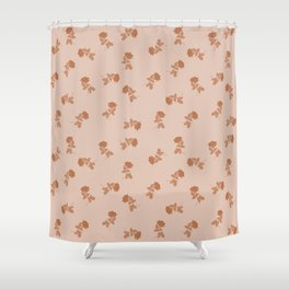Monochrome cute dusty pink roses pattern Shower Curtain