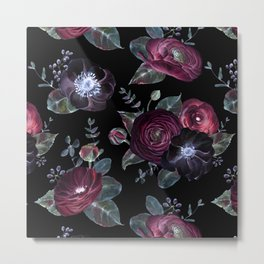Fantasy Night Rose Red Metal Print