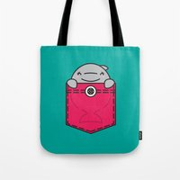 pocket Tote Bags featuring Pocket Dolphin by Steven Toang