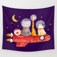 mars Wall Tapestries featuring Let's All Go To Mars by Picomodi