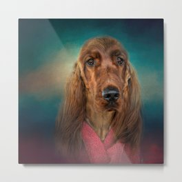 After A Swim - Irish Setter Metal Print