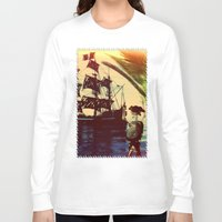 pirate ship Long Sleeve T-shirts featuring pirate ship by Ancello