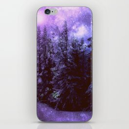Galaxy Winter Forest Purple iPhone Skin