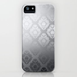 """Neutral gray Damask Pattern"" iPhone Case"