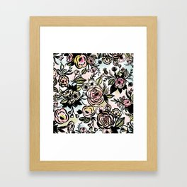 Watercolored Brush Floral Pattern Framed Art Print
