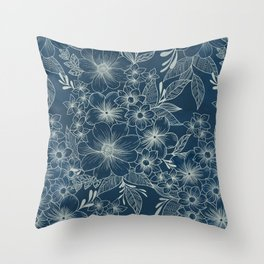 indigo bloom // repeat pattern Throw Pillow