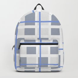 Retro Abstract Plaid Blue and Gray Backpack