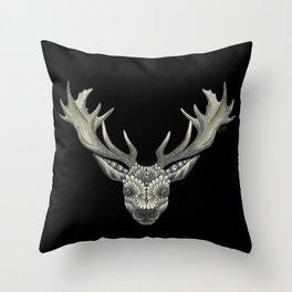 'Masked Stag' - Black Bakcground Throw Pillow