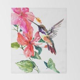 Hummingbird and Hibiscus Throw Blanket