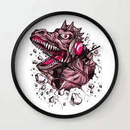 Dino with Headphones Puce Wall Clock