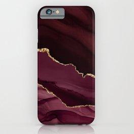 Burgundy Pink Geode & Gold Glitter iPhone Case