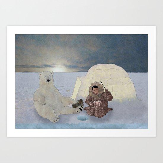 Inuit and Polar bear; Fishing. Art Print
