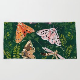 Moths and dragonfly Beach Towel