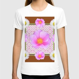 Coffee Brown Shasta Daisy Pink Roses Abstract Art T-shirt