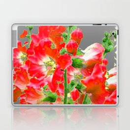 Charcoal Grey Saffrron Red Holly Hocks Pattern Flora Art Laptop & iPad Skin