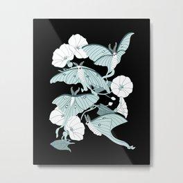 Luna Moth Garden Metal Print