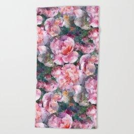 Pink floral pattern Beach Towel