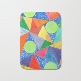 Lime Green Circles within a Cool Triangles Pattern Bath Mat