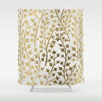 metallic Shower Curtains featuring Gold Ivy by Cat Coquillette
