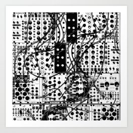 analog synthesizer system - modular black and white Art Print