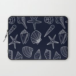 Navy Blue And White Seashell pattern Laptop Sleeve