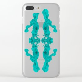 Cyan Ink Drop In Water Clear iPhone Case