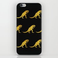 trex iPhone & iPod Skins featuring Golden T.Rex Pattern by chobopop