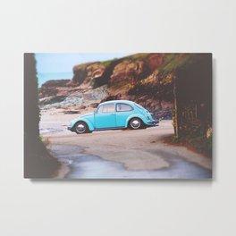 Vintage Blue Beetle Metal Print