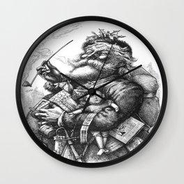 Vintage Illustration Of Santa Claus  Wall Clock