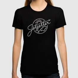Jetsetter - White ink on black T-shirt