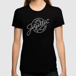 Jetsetter - White ink on black T-shirt