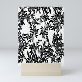 Toile Black and White Tangled Branches and Leaves Mini Art Print