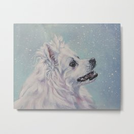 American Eskimo Dog portrait Fine Art Dog Painting by L.A.Shepard Metal Print