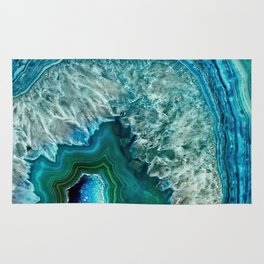 Aqua turquoise agate mineral gem stone- Beautiful Backdrop Rug