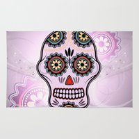 sugar skull Area & Throw Rugs featuring Sugar skull by nicky2342