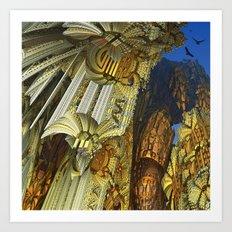 Flying above the golden rock mass Art Print