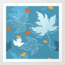 Lovely blue sky illustration with autumn leaves pattern  Art Print