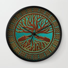 Tree of life  -Yggdrasil  - Embossed Faux Teal & Brown Leather Wall Clock