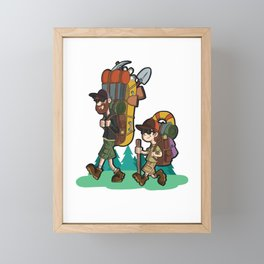 Happiness And Best Friends. Daddy & Junior On Outdoor Trips    Framed Mini Art Print