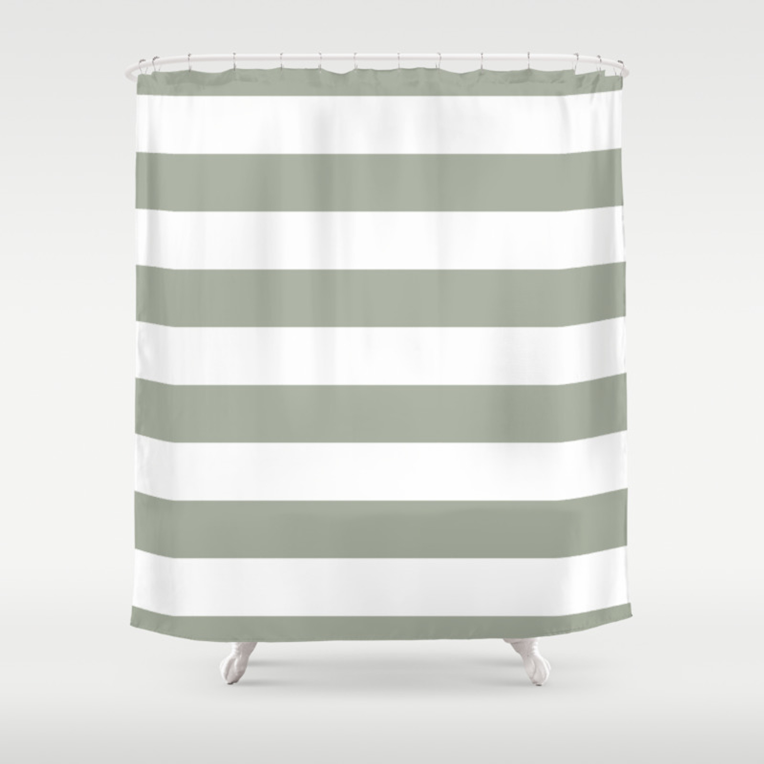 Large Desert Sage Grey Green And White Cabana Stripes Shower Curtain