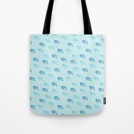 Modern pastel blue teal navy blue leaves pattern Tote Bag