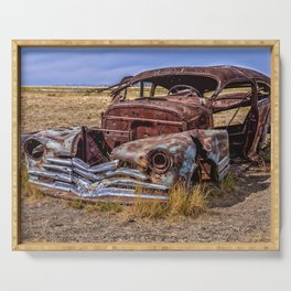 Abandoned car in Badlands ghost town Serving Tray